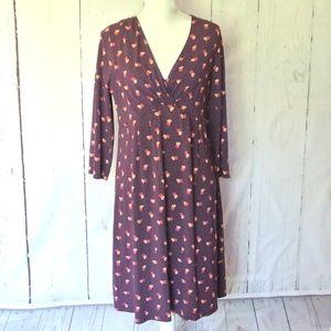 Garnet Hill Purple Floral Midi Dress L Stretch
